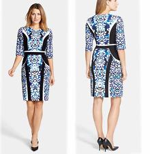 Classiques Entier Stretch Slimming Jersey Nina Print Ponte Sheath Dress 8