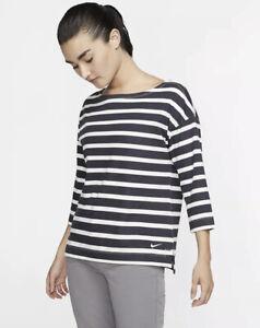 Women's Size Small Nike Golf 3/4-Sleeve Stripe Top AV3676-015 - Dark Grey