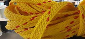 "1 1/8 "" x 105 ft. Hollow/Flat Braid Polypropylene Rope. Yellow/Red"