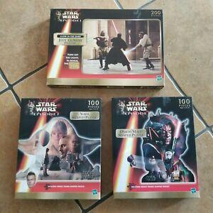 (3) Star Wars Episode 1 Yoda Darth Maul Jedi vs Sith Puzzles 100 Pieces Hasbro