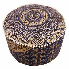 "18"" Blue Gold Vintage Ottoman Pouf Cover Indian Mandala Round Floor Decorative"