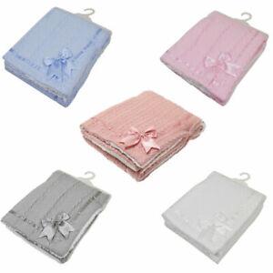 Baby Boy Girl Cable Knit Bow Sherpa Soft Fleece Blanket Pram Crib Moses Basket