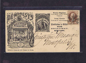 SCOTT# 146 2c NYC FANCY CANCEL ILLUS AD COVER YOUNG AMERICA MAG, 1870-71 PF CERT