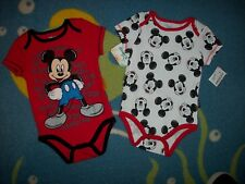 Mickey Mouse Bodysuits 2pc Set Baby Boys 3-6 Mos Handsome Cool Small Disney Baby