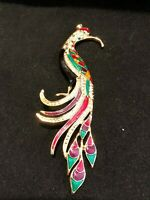 Beautiful 5 Inch Rhinestone and Enamel Bird Pin
