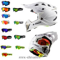 LS2 MX 470 Subverter Solid weiß + HP7 Brille MX Helm Crosshelm Motocross Enduro