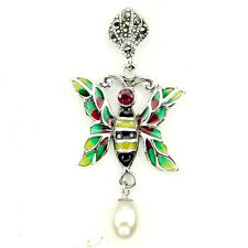 REAL RED PINK RUBY,WHITE PEARL,MARCASITE 925 SILVER ENAMEL BEE PENDANT ChainFree