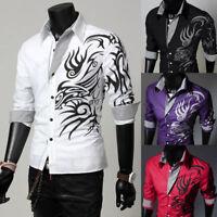 Mens Luxury Dragon Print Long Sleeve Casual Shirts Slim Fit Tops Blouse T-Shirts