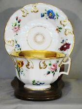 Antique Old Paris Porcelain Hand Painted Floral Cups & Saucers 1820-1850