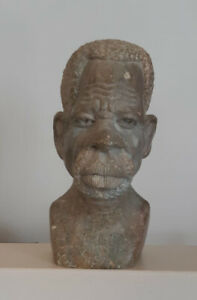 Stone Hand-Carved South African Sculpture Of Head And Shoulders