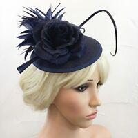 Blue Black Fascinator Flower Net Headband Ascot Races Weddings