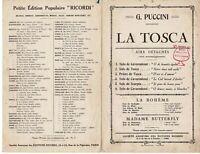 Ancienne Partition la Tosca solo de Cavaradossi Paul Ferrier 1910