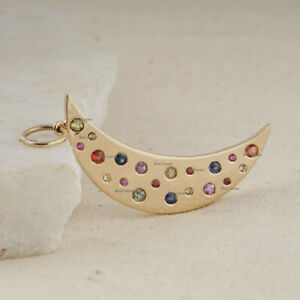 Multi Sapphire Gemstone Crescent Half Moon Pendant Solid 14k Yellow Gold Jewelry