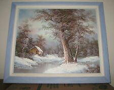 "Listed ""Irene Cafieri""(Germany) oil on canvas Framed Winter Wooded Landscape"