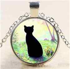 Flower Garden Black Cat Cabochon Glass Tibet Silver Chain Pendant  Necklace
