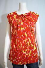 Gap Misses XS Bright Orange Floral Pintuck Tie Neck Sleeveless Button Shirt Top