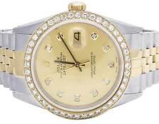 Mens Rolex 18K/ Steel Datejust Two Tone 36MM Quickset 16013 Diamond Watch 2.5 Ct