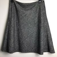 M&S Collection Size 18 Grey Mix Wool Blend A-Line Flared Skirt