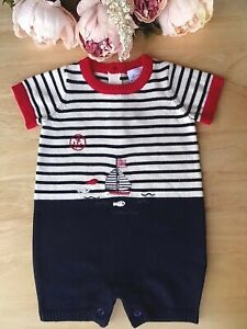 100% Cotton Fine Knit Baby Nautical Sailor Traditional Romper All-in-One NB-3-6m