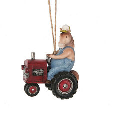 Horse Driving Tractor Ornament