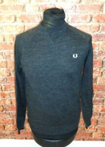 Fred Perry Pullover Jumper Grey Medium 100% Cotton Mod Retro Paul Weller Scooter