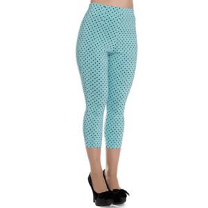 HELL BUNNY VIXEN SIZE S SMALL Blue Tina Capri Pants Capris Stretch Spotty