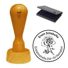 Stempel « Rose » Adressenstempel Motivstempel Holzstempel