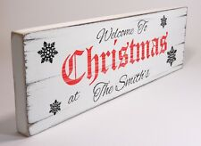 Personalised Welcome Shabby & Chic Vintage Christmas Xmas Gift Sign Plaque 02