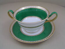 WEDGWOOD ULANDER EMERALD POWDER GREEN TWO HANDLED SOUP COUP AND SAUCER.