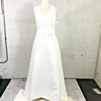 $299 NWT David's Bridal Ivory Wedding Gown Halter Neck Button Back Train Size 14
