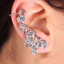 New Crystal Butterfly Ear Cuff Earring Silver Tone Ear Climber Stud Jewelry