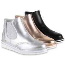 Damen Plateau Chelsea Boots Metallic Glitzer Stiefeletten 814877 Schuhe