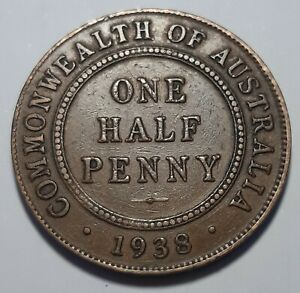 1938M  3/A ~ AUSTRALIAN HALF PENNY ~ BRONZE (J19-5)