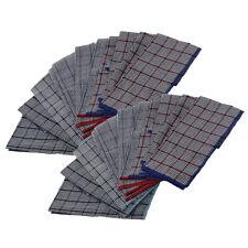 """16/"""" Men/'s Handkerchief Absorbent Moisture-Wicking Cotton Plaid BLK WHT L 12Pcs"""