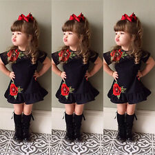 Toddler Kids Baby Girls 3d Flower Summer Party Pageant Dress Sundress Clothes UK 3-4 Years