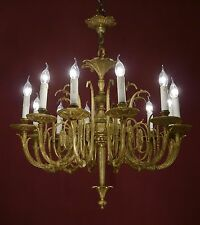 BIG BRASS CHANDELIER VINTAGE LAMP FIXTURES OLD LIGHTINGS ANTIQUE