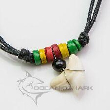 Tiger shark tooth wooden bead necklace rasta c103