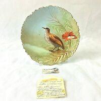B & H BLAKEMAN HENDERSON LIMOGE FRANCE H PAINTED GAME PLATE BIRD FLORAL ANTIQUE
