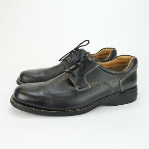 JOHNSTON & MURPHY Shuler Oxford Bicycle Toe Mens Black Pebbled Leather Size 11.5