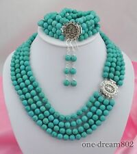 """4strands 19"""" 8"""" 8mm round turquoise necklace bracelet earring"""