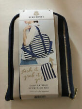 PURE HONEY Convertible STOW-N-GO Bag Duffle Tote Backpack Plaid White Blue NEW