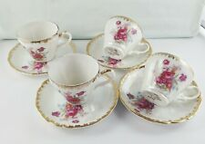 RARE ANTIQUE LEFTON HAND PAINTED FINE CHINA MADE IN JAPAN CUP & SAUCER DUOS X 4