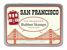 Cavallini - Tin of Rubber Stamps - San Francisco - Set of 3 Stamps