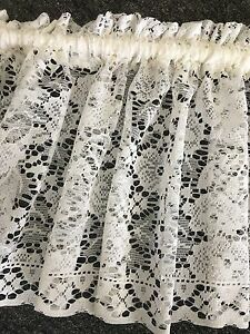 10 metres Beautiful Lace Curtain Valance - New Majestic -ivory-35 cm Drop