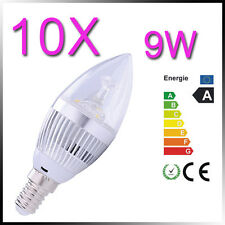 10X 9W E14 Warm White High Power 3X3W LED Energy Saving Silver Candle Light Bulb