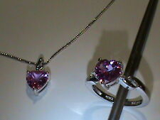 Sterling Silver Necklace & Ring Set Pink Sapphire & Diamonds NICE! (94