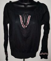 Miley Cyrus Max Womens Black White Red Design Semi Sheer Shirt Top Blouse Size M