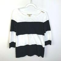 Banana Republic Black and White Stripe Top,Medium,3/4 Sleeves,Knit,Stretch