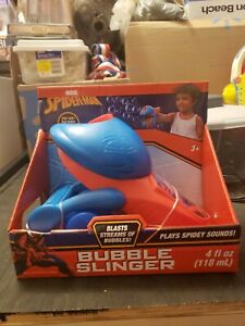 All New Marvel Spider-Man Bubble Slinger Plays Spidey Sounds Blasts Bubbles 3+