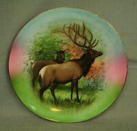 vintage old decorative Elk porcelain 10 1/4' plate wildlife colorful cabin decor